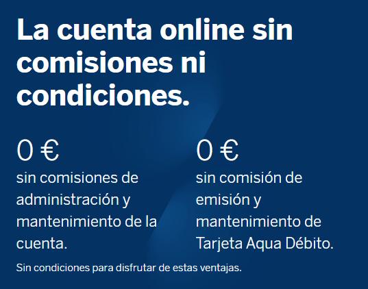 cuenta bbva online comisiones