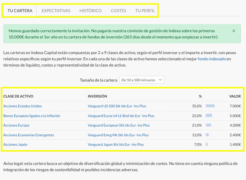 Composición de las carteras indexadas de Indexa Capital, adecuado a tu perfil de riesgo